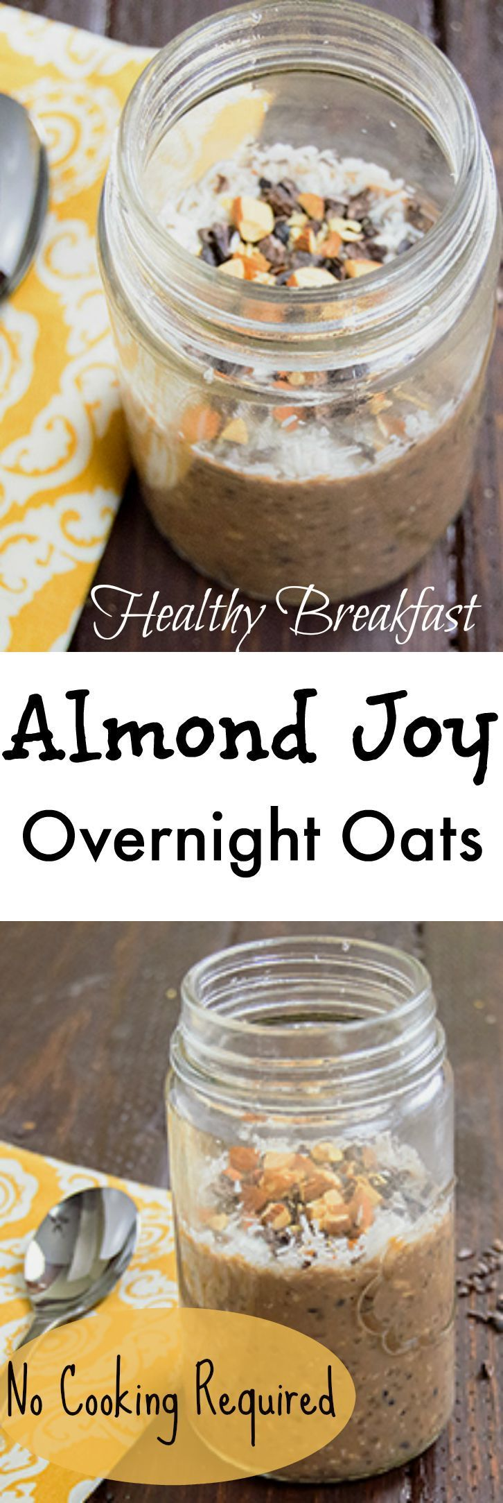 Start your day with healthy almond joy oats! These overnight oats don't require any cooking and are ready for you in the morning. They use figure friendly chia seeds and keep you full for hours! Gluten free, vegan, easy recipe!