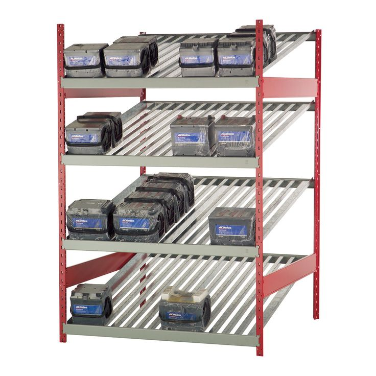 Battery Rack : No. Shelves:4 / Width (inches):48 / Height (inches):75 / Depth (inches):48 / Net weight (lb.):300.83 / Each level is equipped with a front stop and two side rails to keep the battery in its place. / Levels are inclined 15° to ensure the rotation of stock (FIFO). / Versatile structure, to which a wide range of accessories can be added. / For personalized configuration, contact us!
