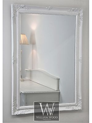 "Isabella White Shabby Chic Rectangle Antique Wall Mirror 36"" x 26"" Large"