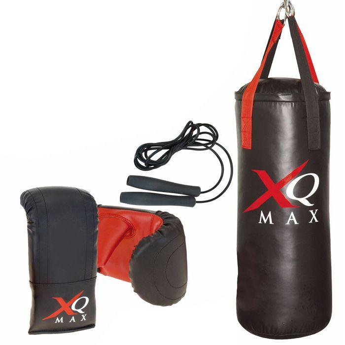 XQ MAX BOKSSET PROF Boksset prof  Merk: XQ Max Deze set bestaat uit:   bokszak (75x30cm) 2 bokshandschoenen nylon springtouw ophanghaak