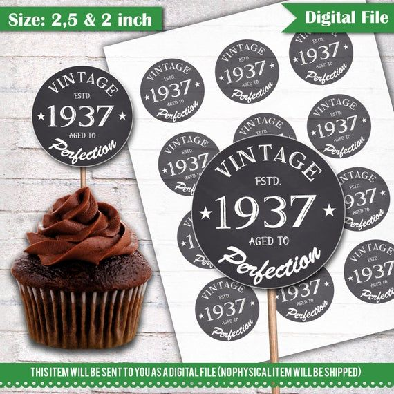 80th Birthday Cupcake Toppers 1937 Vintage Aged To Perfection