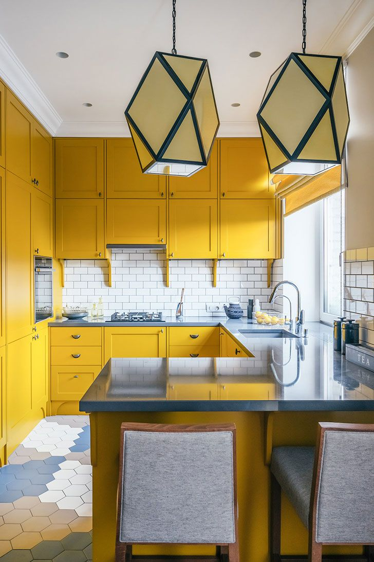 Bright yellow kitchen! (see more) #idea #inspiration #kitchen #bright #colorful #yellow #juicy #tiles #floor #small #space #design #decor #chandelier #lighting #chairs #apartment #russia #moscow #backsplash