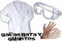 Bata, gafas y guantes