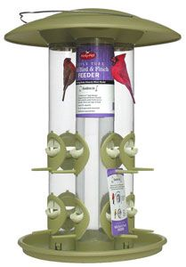 369 Triple Tube Finch or Seed Feeder. Easy lift off lid, stainless steel handle for hanging. 12 Feeding stations. 1.8lb. capacity. Hung or pole mounted. Green colour