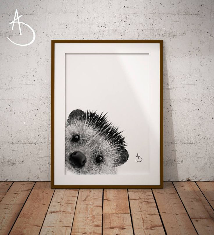 HEDGEHOG PRINT, Nursery decor, Printable Poster, Hedgehog Art, Black and White, Printable Poster, Woodland Animals, Woodland Printables, by AmberstoneDesign on Etsy