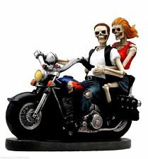New Love Never Dies Skeleton Biker Skull Death Riders Motorcycle Figurine 75739