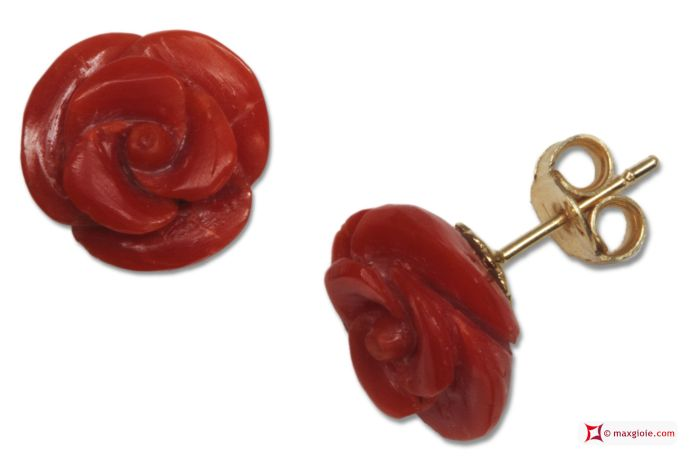 Extra Red Coral Earrings rose 11½mm in Gold 18K [various clasps]  Orecchini Corallo rosso Extra rose 11½mm in Oro 18K [varie chiusure]  #jewelery #luxury #trend #fashion #style #italianstyle #lifestyle #gold #silver #store #collection #shop #shopping #showroom #mode #chic #love #loveit #lovely #style #beautiful #pretty #madeinitaly #bestoftheday #earrings #earringsforsale