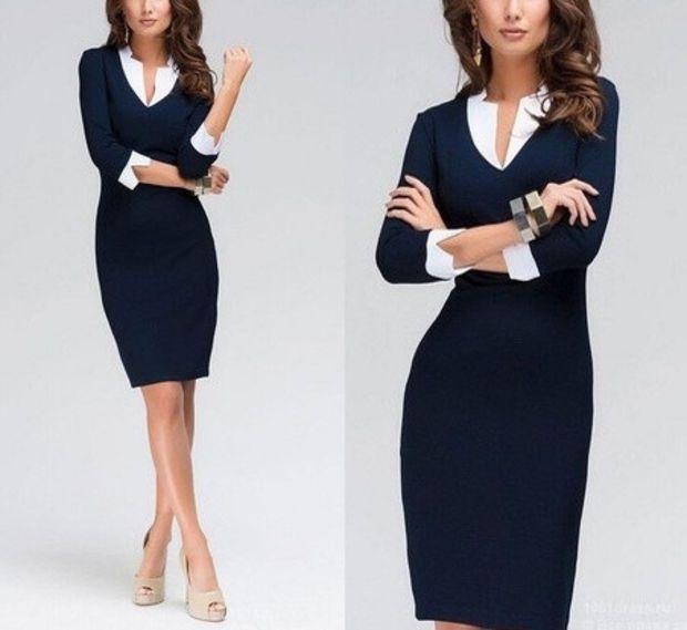 Sexy Women 3/4 Sleeve Slim Bodycon Party Evening Cocktail Office Work Pencil Dress Midi Dress = 1956710468