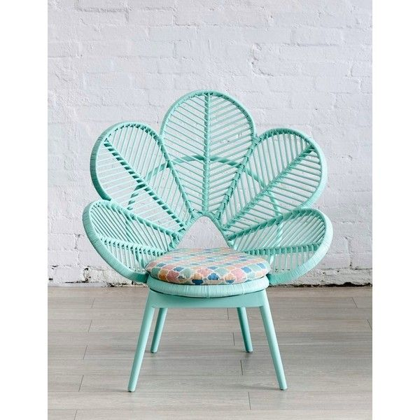 Mint peacock chair from The Family Love Tree DECOIST ❤ liked on Polyvore featuring home