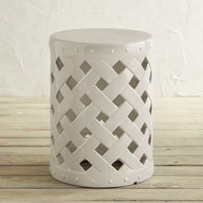 It's all about the weave. Get the look of lattice with the durability of hand-cast earthenware in our versatile garden stool. Brighten up your outdoors with extra seating, a decorative accent table or the prettiest plant stand in your garden.