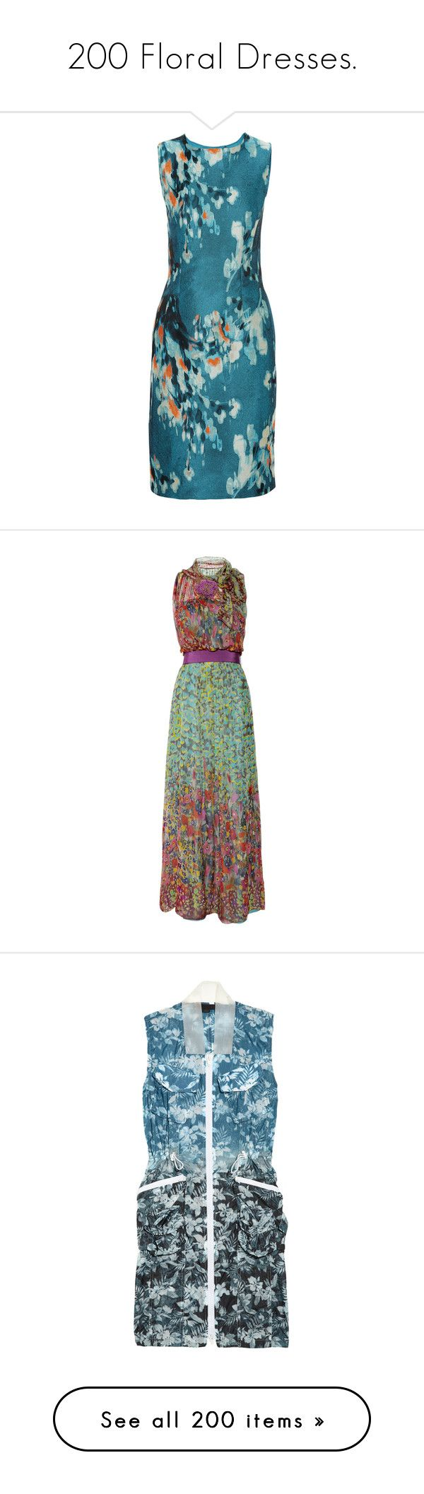 """""""200 Floral Dresses."""" by that-drumming-noise ❤ liked on Polyvore featuring dresses, azure, button dress, multi color dress, pencil dresses, petite floral dress, petite pencil dress, gowns, vestidos and maxi dresses"""