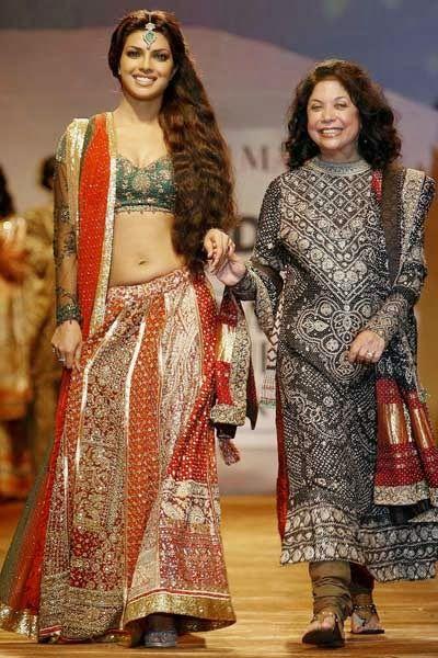 #PriyankaChopra in Red and Green #Lehenga