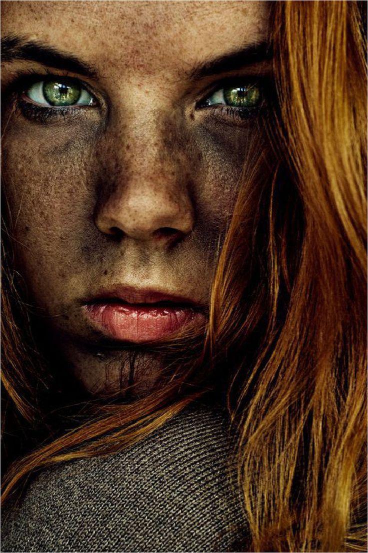 Expression, intense green eyes, female beauty, attitude