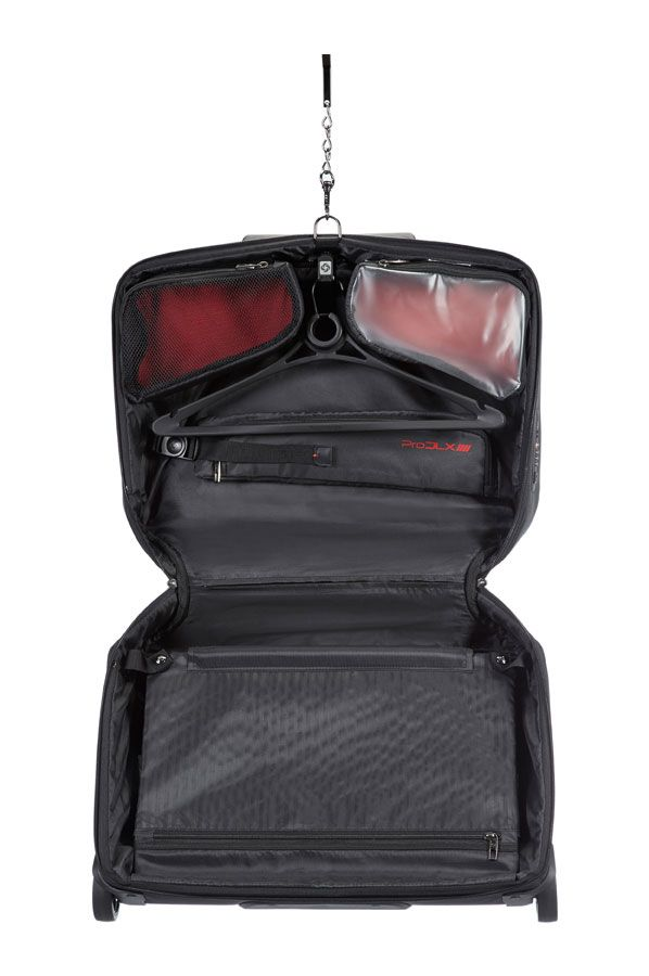 Inside the Pro DLX 4 Garment bag, it has 2 hangers for your suits or outfits and fold-over to protect your garment. It also has a detachable wet bag for toiletries and for your socks.