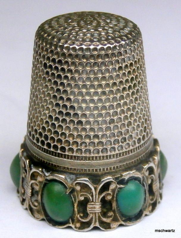 Victorian 800 Silver Jade Cabochon Thimble