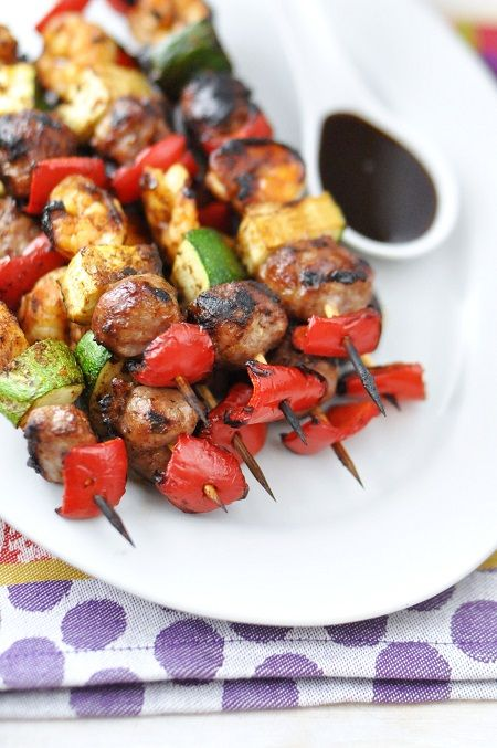 Quick & Easy Marinaded Shrimp & Sausage Kabobs #Recipe