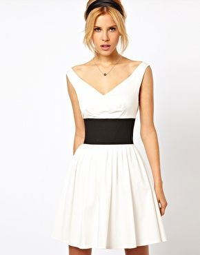 Enlarge ASOS Skater Dress With Off Shoulder And Deep Waistband