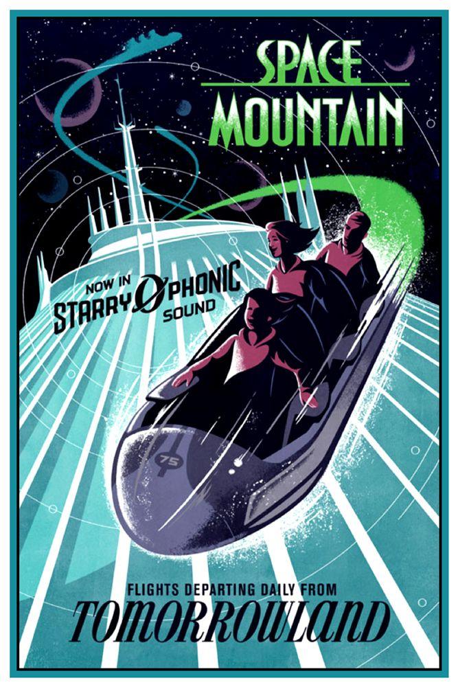 RETRO DISNEY COLLECTOR'S POSTER 12X18 - TOMORROWLAND - SPACE MOUNTAIN | eBay