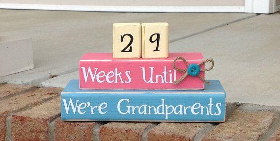 Compte à rebours. Compte à rebours de grossesse. Aqua et rose.  Semaines jusqu'à ce que nous sommes des grands-parents. Maternité compte à r...