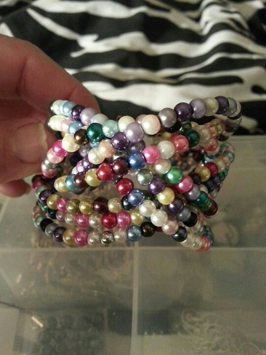 Glass pearl braided cuff