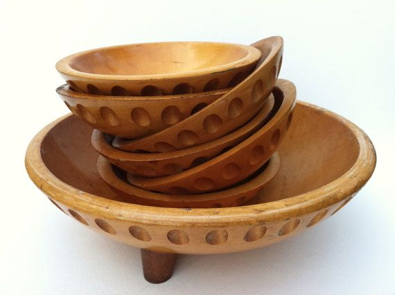 vintage munising wooden salad bowl set maple 7 by