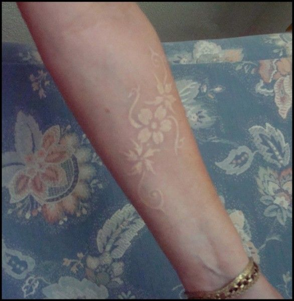 white ink tattoos floral