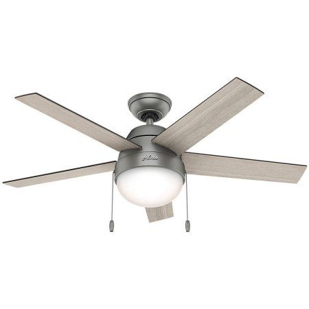 Hunter 46 inch Anslee Matte Silver Ceiling Fan with Light