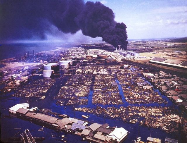 昭和石油(写真/新潟日報社) | 新潟地震記憶マップ | 防災・減災新潟プロジェクト2014