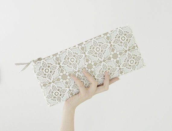 Rustic lace purse -  ivory, beige, linen shabby ceremony, bride, clutch, OOAKstatement on Etsy, $56.49