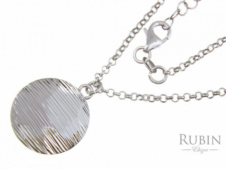 Ródiumos ezüst rolo nyaklánc vésett lap medállal