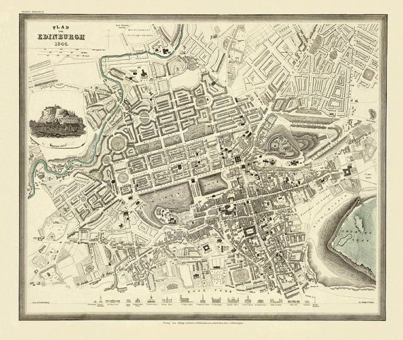 Antique  Edinburgh  city map Print  19 x 23  by AncientShades, $35.00