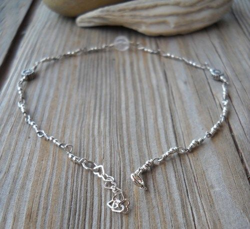 Handmade 925 Sterling Silver Rose Quartz Anklet | pavlos - Jewelry on ArtFire