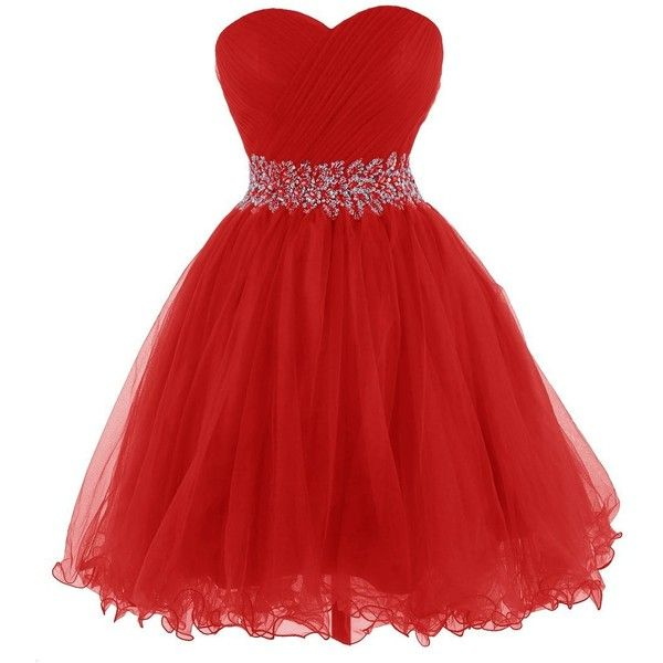 Tidetell 2015 Strapless Royal Blue Homecoming Beaded Short Prom... ($90) ❤ liked on Polyvore featuring dresses, gowns, vestidos, red strapless gown, red dress, homecoming dresses, short red dress and prom dresses
