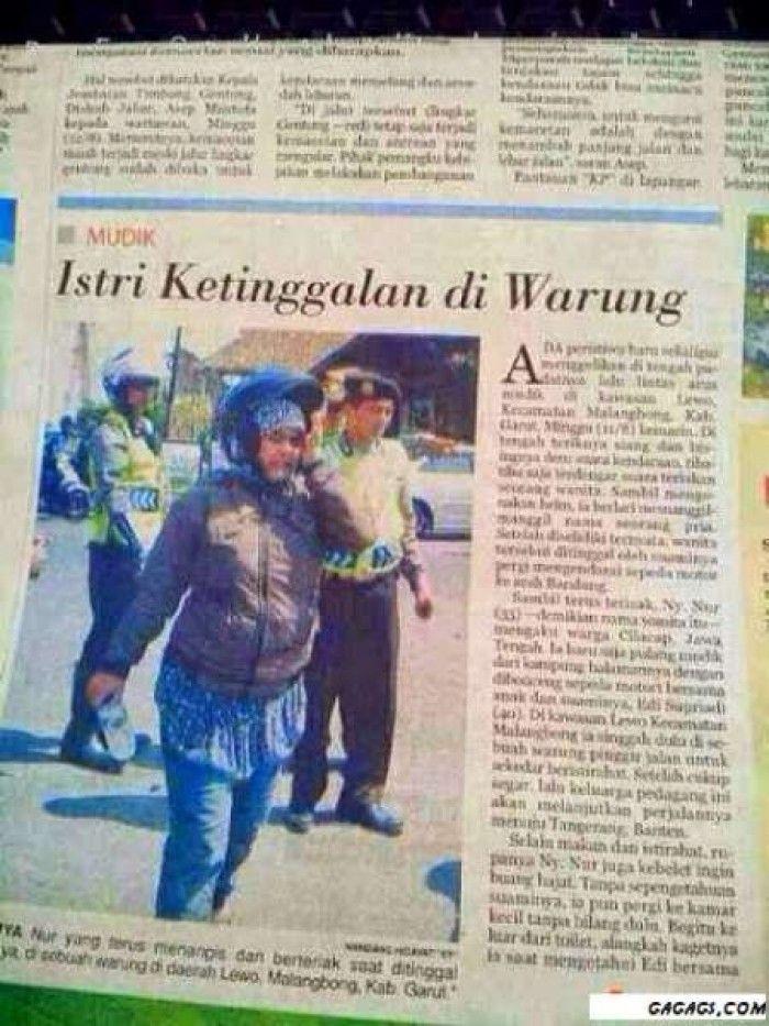 Berita Koran, Istri Ketinggalan di Warung. Berita disalah satu media cetak koran memberitakan istri sampai bisa ketinggalan diwarung. gimana menurutmu?