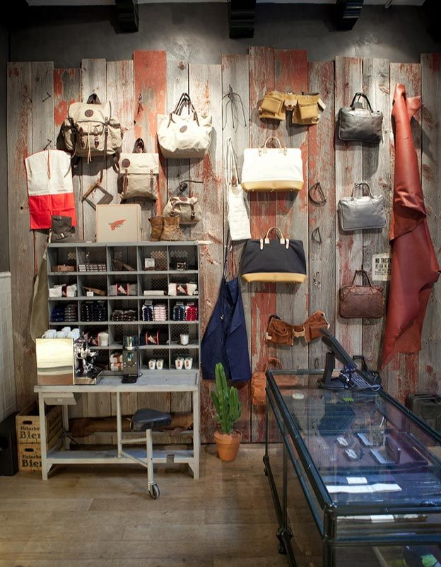 Red Wing Store - Amsterdam. Love the old barn wood wall!