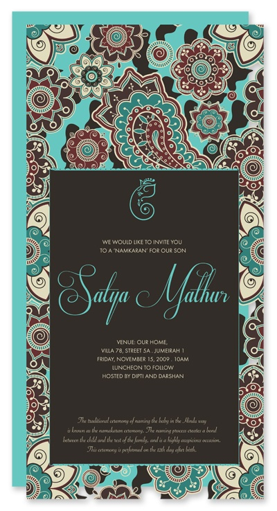 Hindu naming ceremony invitation