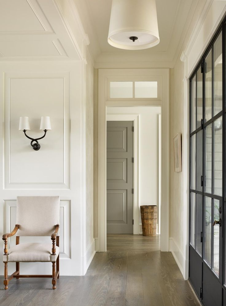 Love The Gray Door And Black French Doors That Contrast With White Walls Trim
