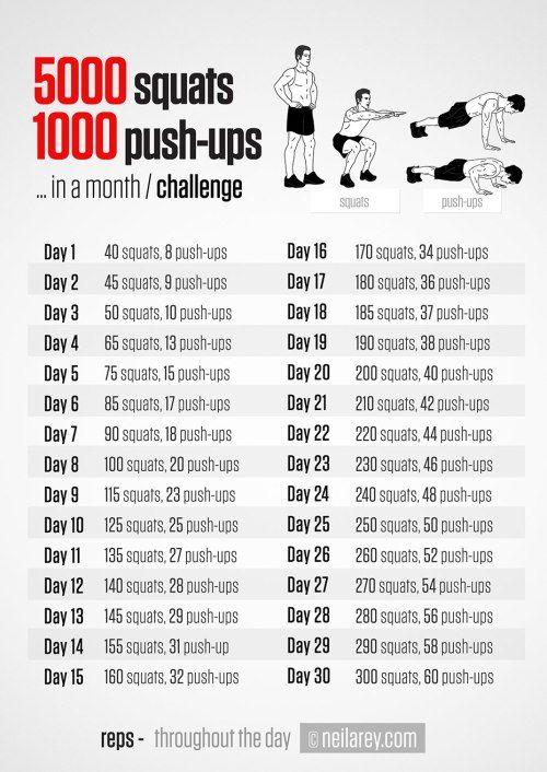 30 day challenges Squat en Push Up