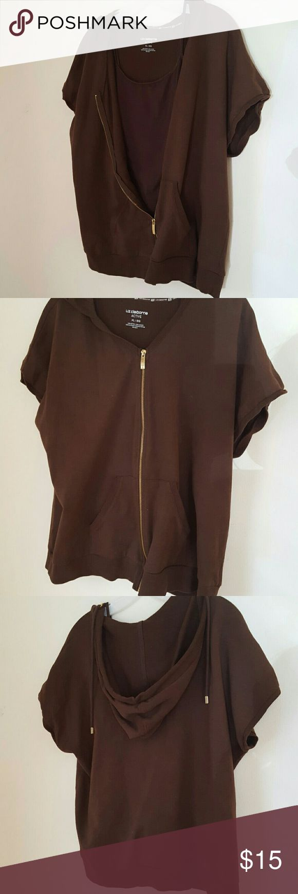 Brown short sleeved zip up shirt with hood Brown short sleeved zip up shirt with hood. Like brand new. Comes with free SMALL brown cami Liz Claiborne Tops