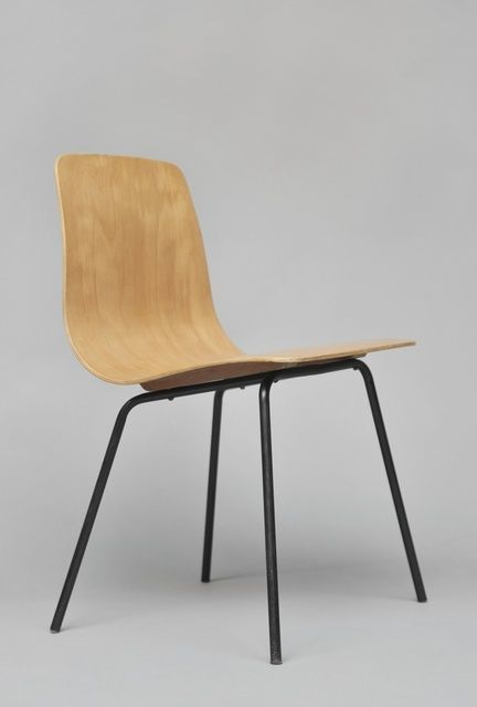 Pierre Guariche; Molded Plywood and Enameled Metal 'Papyrus' Side Chair, 1951.