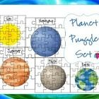 This is a set of 9 Solar System puzzles with labeled planet names....