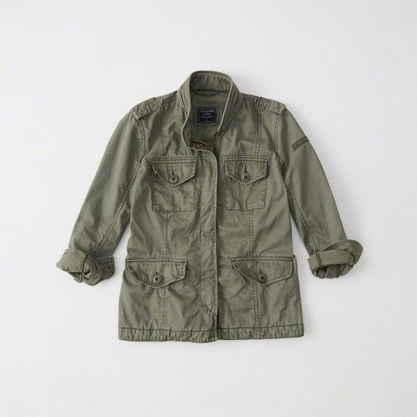 Abercrombie & Fitch Embroidered Military Twill Shirt Jacket ($70) ❤ liked on Polyvore featuring outerwear, jackets, olive, olive green jackets, olive utility jacket, olive jacket, embroidered jacket and olive green military jacket