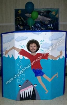 My Homemade Shark Photo Prop: My son decided he wanted to have an underwater shark attack birthday party for his fifth birthday.  I took the idea and ran with it.  First:  I made homemade