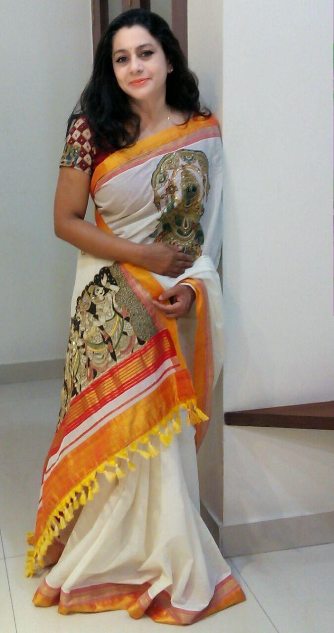 Pen Kalamkari Kerala Saree - Paarvati Kiriyath Bharath