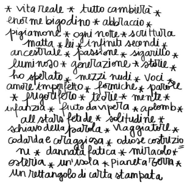 Le parole di Farfalle in un lazzaretto liberate allo spazio cubo di Writers ai Frigoriferi milanesi