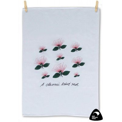 Tea towel A Classic Kiwi Red. A quality New Zealand made 100% cotton tea towel featuring stunning red Pohutukawa flowers and dark green foliage. The Pohutukawa has been dubbed the New Zealand Christmas Tree because of its stunning display of red blooms during our Summer Christmas season. Genuinely made in New Zealand. Matching apron available.   See more at www.entirelynz.co.nz/gifts
