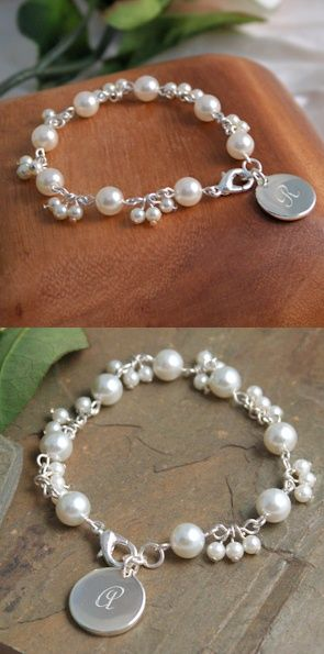 Personalized Romantic Pearl Bracelet image Bridesmaid gift idea....perfect to wear on the big day!: Personalized Romantic Pearl Bracelet image Bridesmaid gift idea....perfect to wear on the big day!