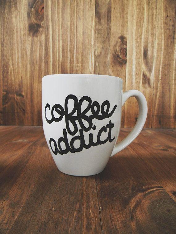 Coffee Addict ceramic mug birthday present by ParrisChicBoutique, $13.00