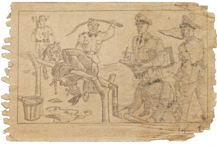 """A page showing the Boger Swing in use from """"The Sketchbook from Auschwitz."""" The artist is unknown."""