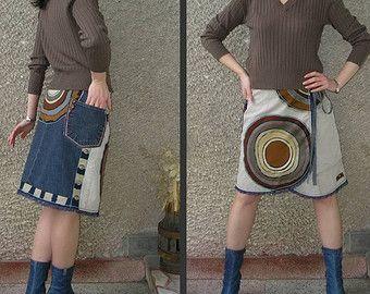 Künstlerisch Wrap Applique Rock, handgemachte Öko-Kleidung von EcoClo, Größe M-L